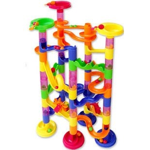 Candice guo plastic toy Children block track ball building blocks 74PCS DIY maze marble run construction system race deluxe gift