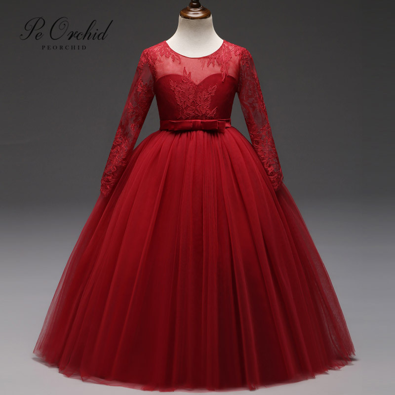 PEORCHID Red Lace   Flower     Girl     Dress   2019 Abiti Prima Comunione Cheap Evening Gown For   Girls   Ball Gown For Wedding Kids