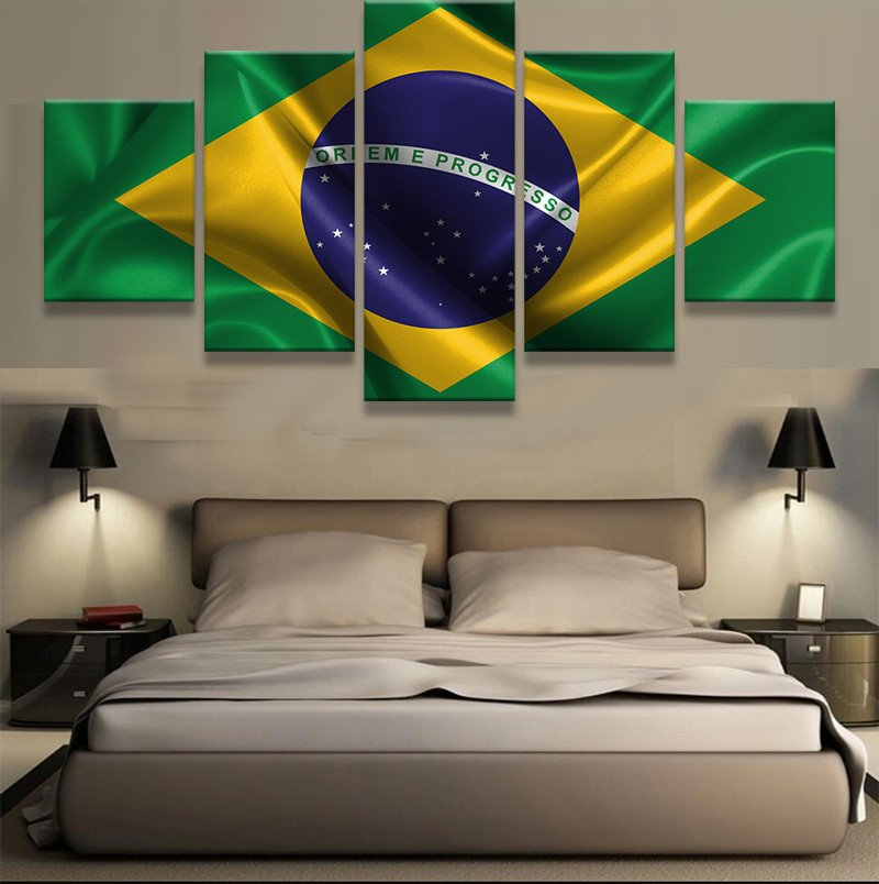 5 unidades HD imprimir pintura lienzo grandes Brasil bandera Cuadros ...