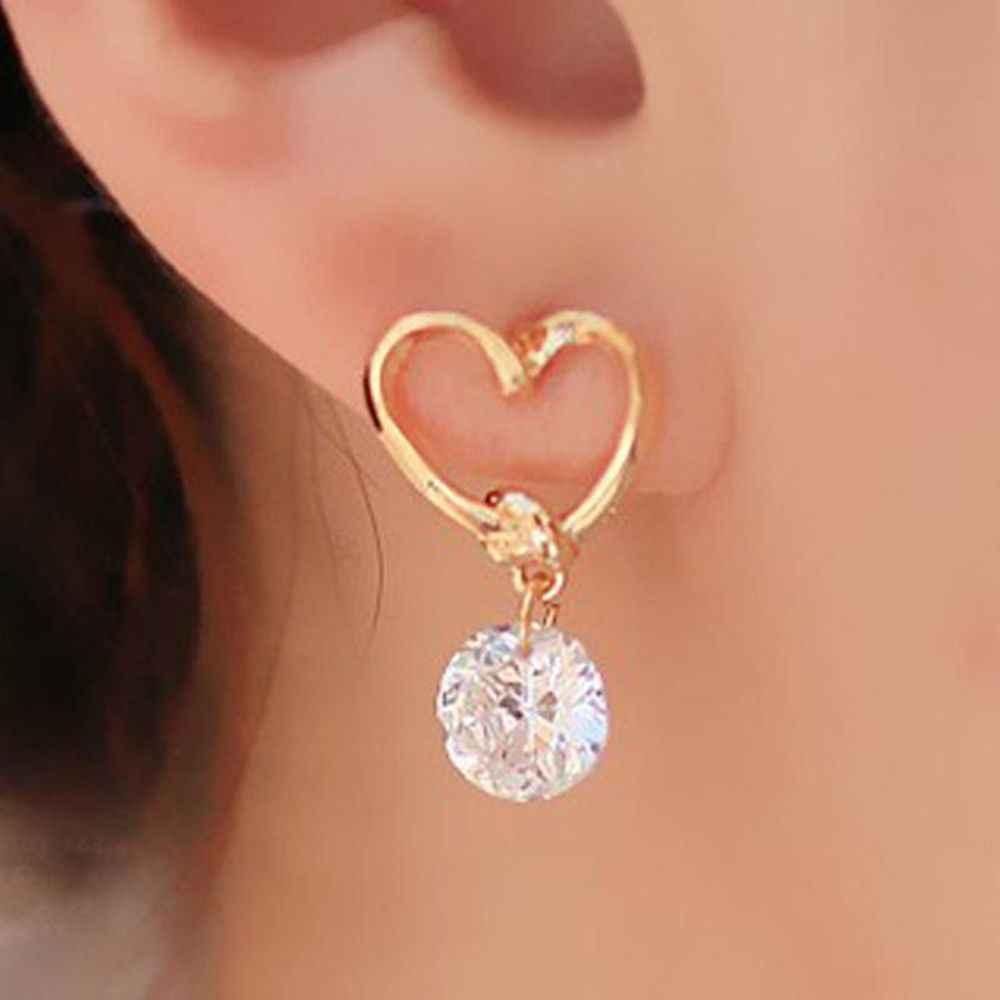 Simples novo design feminino bonito amor coração de cristal zircão balançar brincos de orelha brincos de gota balançando para festa de casamento feminino presente