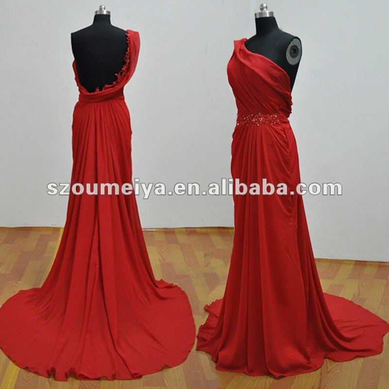 Red Backless Grecian Dress