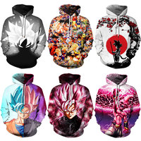 2019 Cartoon Skull Dragon Ball Son Goku Naruto Printed Women Jacket Hooded Femme Sweatshirt Casual Loose Men Pocket Hoodies Coat
