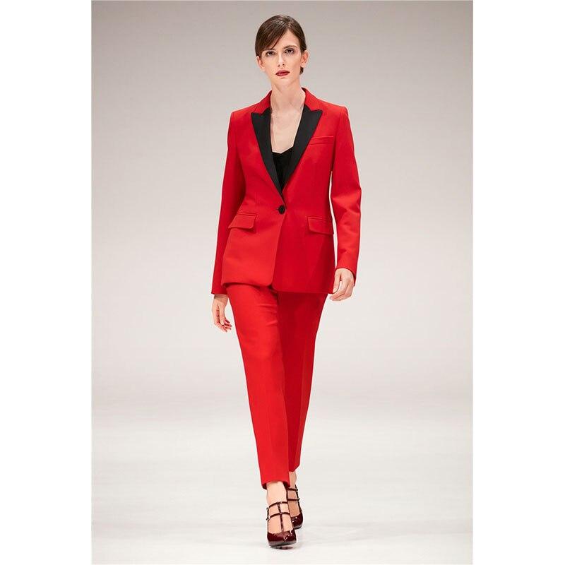 Satin pantalon Dames Revers Pièce Haute Rouge Bureau Noir 2 Picture Femmes Femelle Pantalon Same Uniforme Costumes Tailleur De D'affaires Qualité As rChxQdBtso