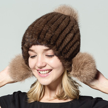 A real mink knit hat fur hats for women winter brand cap Russian womens  Fox ball