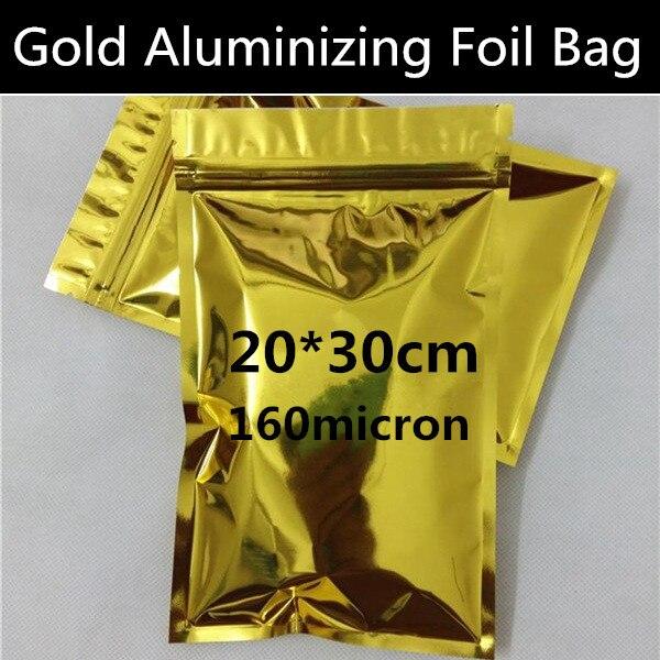 100pcs 20cm 30cm 160mic Large Gold Aluminizing Mylar Bag Flat Bottom Zip Lock Bag