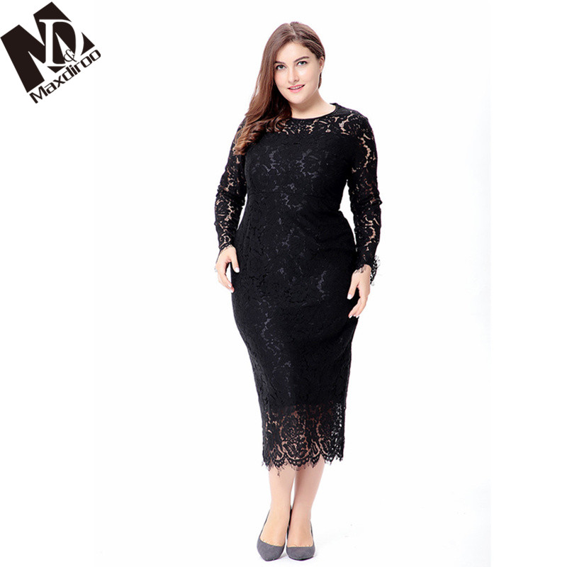 US $23.1 42% OFF|Maxdiroo 4X 5XL 6XL Spring Women O neck Party Lace Dress  Plus Size Long Sleeve Dress Bodycon Dress Vintage Long Maxi Dresses-in ...