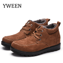 YWEEN New Mens Arrive Snow Boots Solid Winter Shoe Color Warm Waterproof Slip-on Ankle for Men Plus Size 39-45