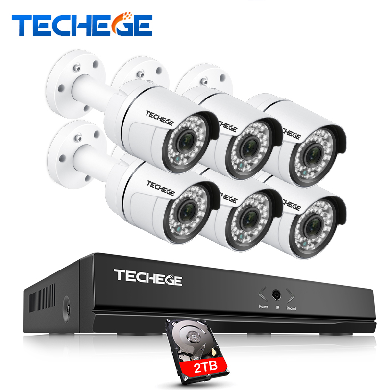 Techege 8CH CCTV kit de sécurité 3000TVL IP Caméra 2.0 mégapixels Étanche vision nocturne IR 20 M Onvif P2P système de caméra Vidéo Système