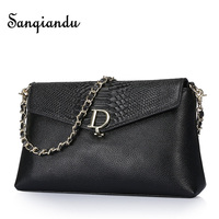 SANQIANDU Women Messenger Bags Genuine Leather Serpentine Bag Luxury Design Crossbody Bags For Women Brand Shoulder