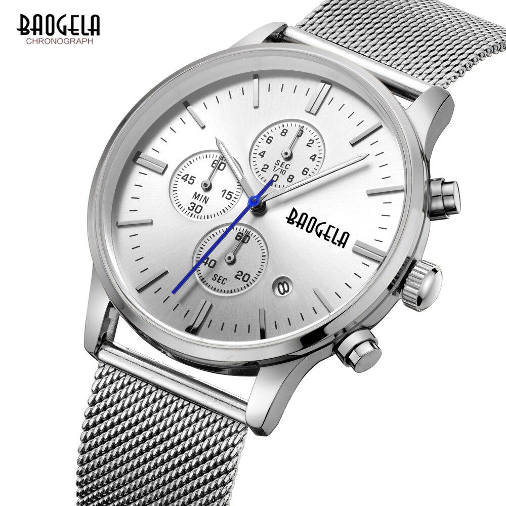 BAOGELA Herrenuhren quarz-uhr edelstahlgewebe band silber Dünne herrenuhr multifunktions sport Chronograph armbanduhr