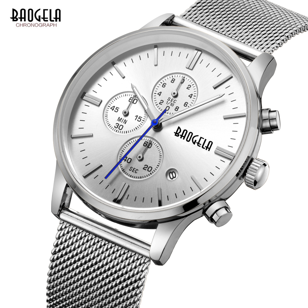 BAOGELA Men's Watches quartz-watch stainless steel mesh band silver Slim men watch Multi-function sports Chronograph Wrist watch цена