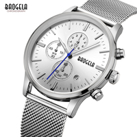 BAOGELA Men's Watches quartz watch stainless steel mesh band silver Slim men watch Multi function sports Chronograph Wrist watch