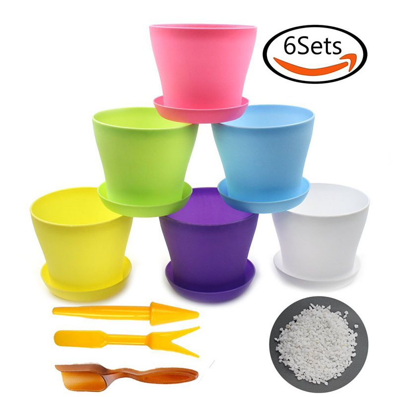 BAKHUK 6 Colorful Plastic Round Flower Pots with Pallet, 1 Bag of White Stone + Soil Shovel + 1 Set of Yellow Transplanting Tool