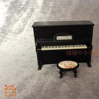 Upright Piano With Bench miniature dollhouse furniture wooden 1 12 scale Black