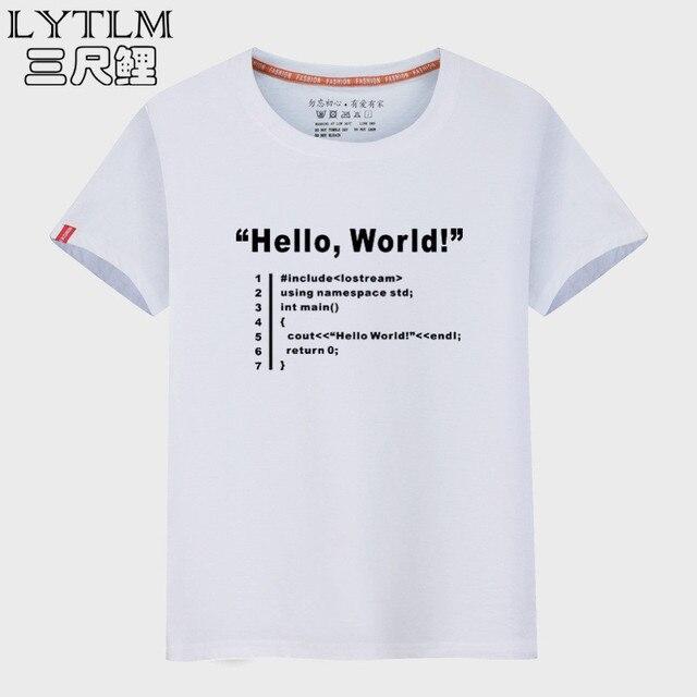 6d099583 LYTLM HELLO WORLD Geek Team Programmer Unisex Funny T Shirts Summer Top  Vintage Tshirt Men Cotton