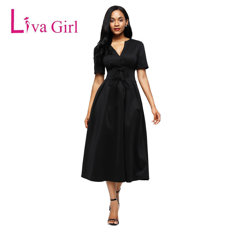 Liva Girl Women Autumn Elegant Midi Dress V Neck Short Sleeve Party Celebrity Bodycon Bandage Dress