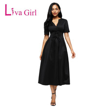 Liva Girl Women Autumn Elegant Midi Dress V Neck Short Sleeve Party Celebrity Bodycon Bandage Dress High Waist Lace Up Femme