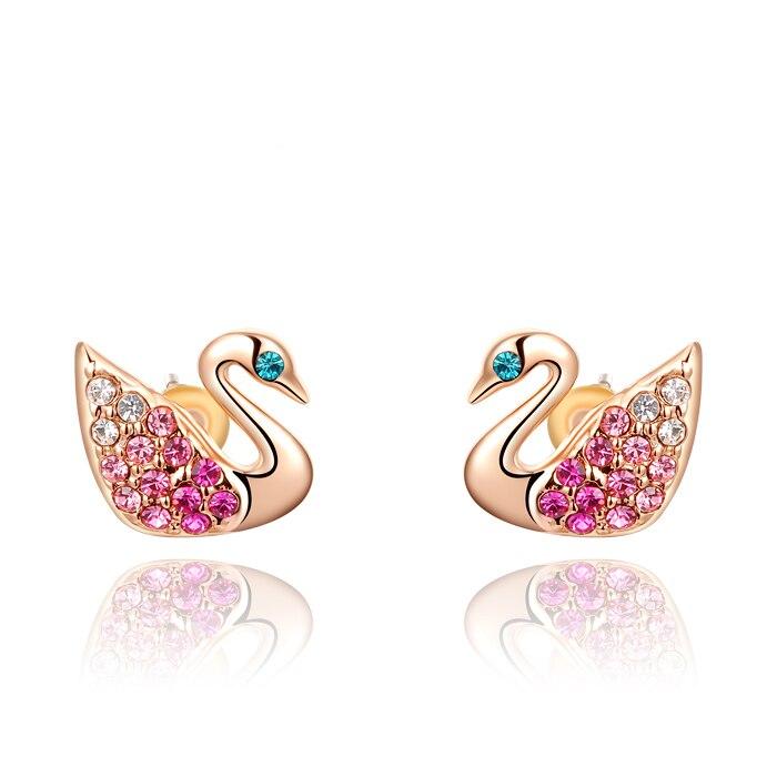 Cute Crystal Swan Earrings Rose Gold Color Small Stud Earrings for Women Girls Pendientes Animal Earings Jewelry Gift9