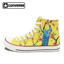 Оригинальный Дизайн ручная роспись парусиновая обувь шинуазри сливы Павлин обращается высокие кроссовки для Для мужчин Для женщин