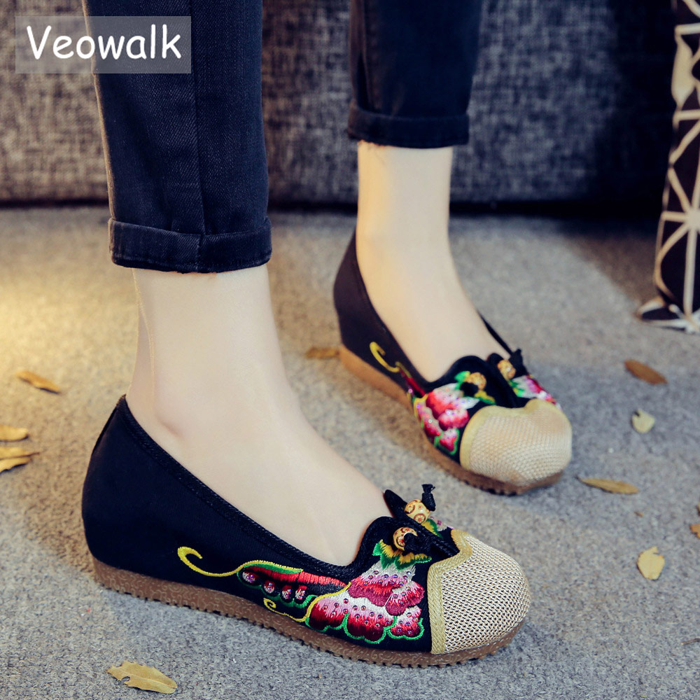 Veowalk Patchwork Linen Cotton Fabric Women Embroidered Ballet Flats Chinese Style Ladies Rhinestones Embroidery Platform Shoes gztophid 3 bifocal q5 projector lens 35w hid bulb shroud and high low beam control wire for h1 h4 h7 h11 9005 9006