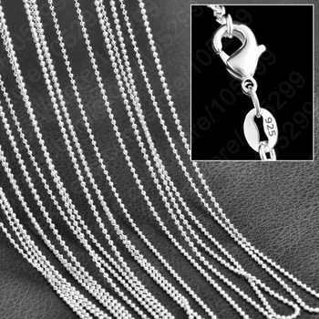 Popular Beads Chain Necklace 10pcs Lot Cheap Wholesale Genuine 925 Sterling Silver Woman Girls Jewelry