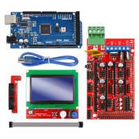 Excelente Mega 2560 R3 Mega2560 REV3 + rampas 1,4 controlador + RAMPS1.4 LCD 12864 para kit de impresora 3D