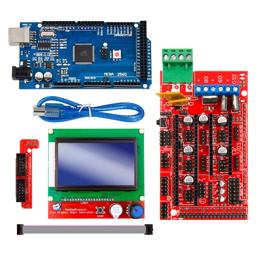 Excellent Mega 2560 R3 Mega2560 REV3 +RAMPS 1 4 Controller +RAMPS1 4 LCD  12864 LCD for 3D Printer kit