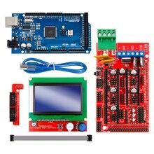 جهاز تحكم ممتاز Mega 2560 R3 Mega2560 REV3 + سلالم 1.4 + RAMPS1.4 LCD 12864 LCD لمجموعة طابعة 3D