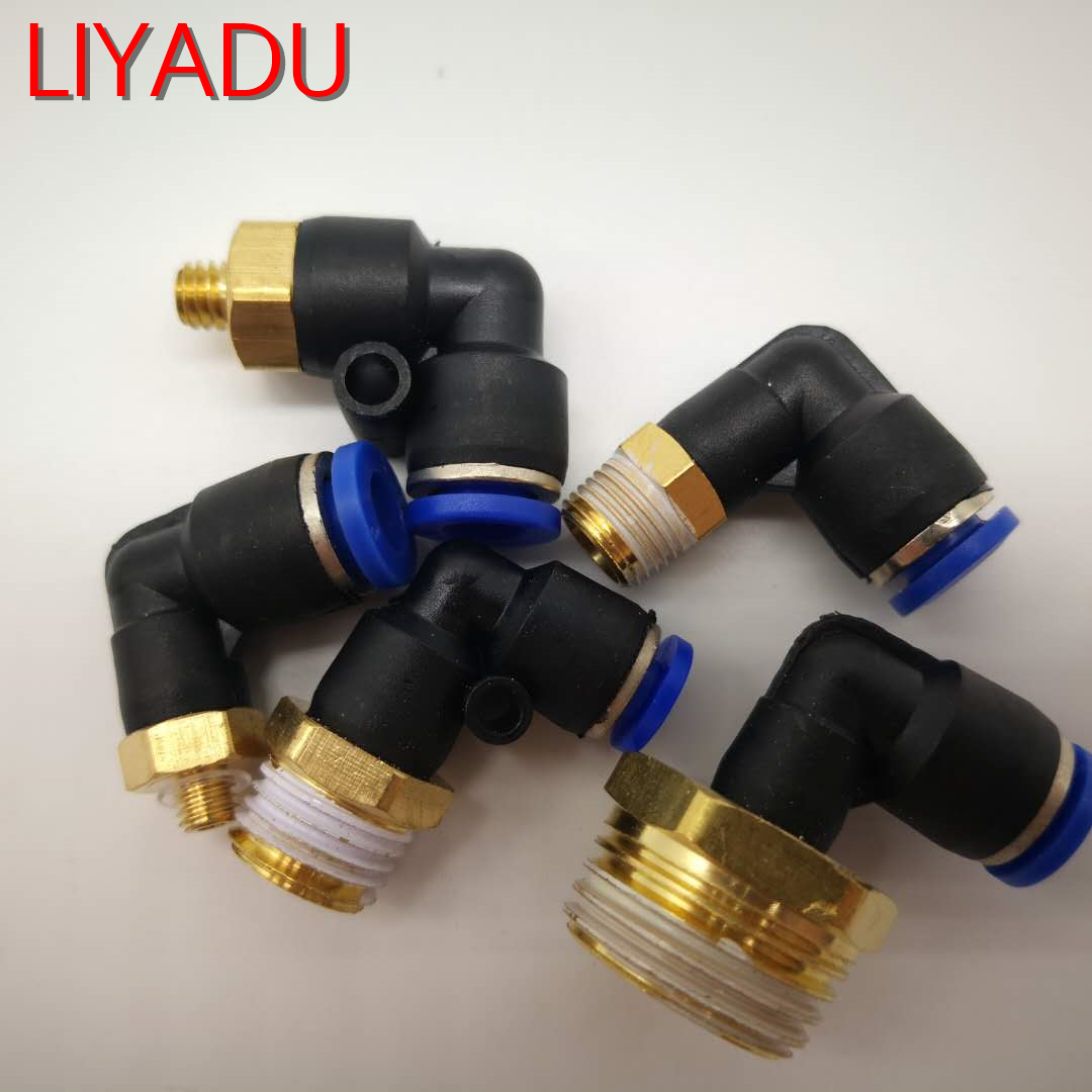 10Pcs 4mm to M5 L Shape Push in Pneumatic Quick Connect Tube Fitting Coupler