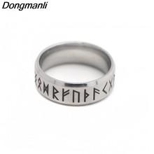 1a85446f8f3d P1808 Dongmanli moda estilo Punk antiguo hombre de Viking anillo de mujer  negro amuleto Vintage nórdicos runa anillos para las m.