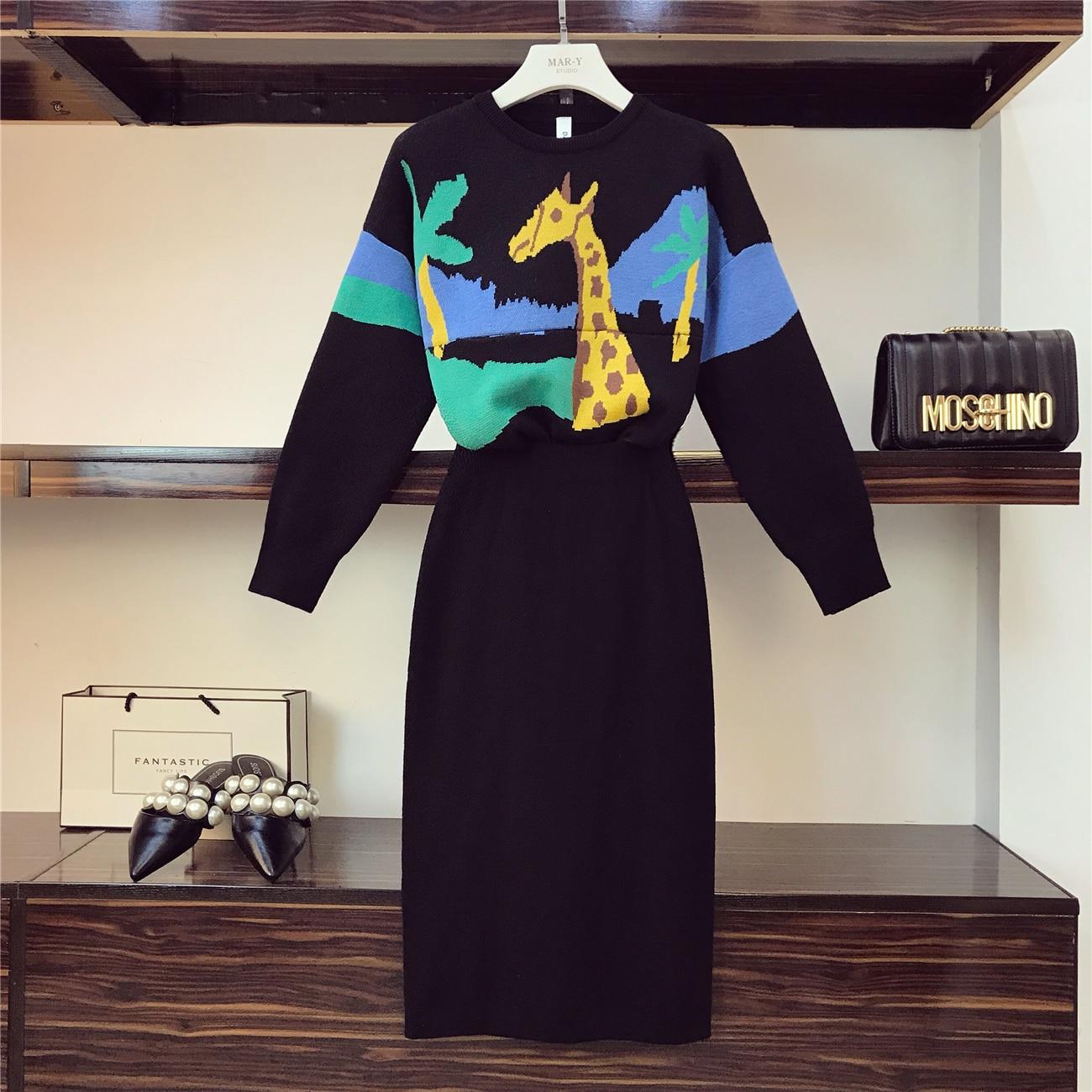 47321a030 Primavera invierno nueva moda suéter traje mujer jirafa Jacquard suéter +  alta cintura Split ...