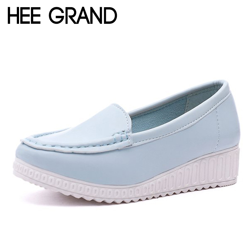 HEE GRAND Women Causal Lofers Soft Bottom Women Platform Shoes Slip-on Solid Flats Spring New Style XWD6724