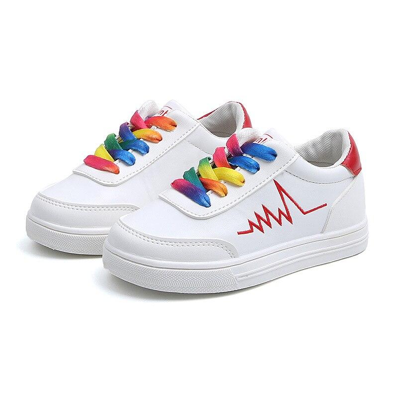 COZULMA Primavera Crianças Rainbow Cadarço Calçados Esportivos Meninas Meninos Tênis Da Moda Respirável Não-Deslizamento Sapatos Casuais Tamanho 26- 36