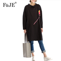 F Je New 2017 Spring Women S Loose Print Long Dress Femme Casual Loose Clothing Fashion