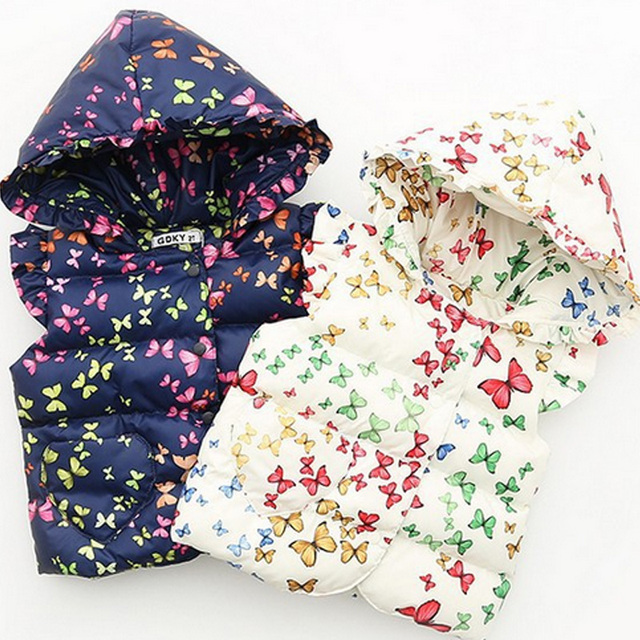 Children's clothing 2016 kids autumn spring winter baby girls vests butterfly flowers print hooded outerwear wadded jacket vest