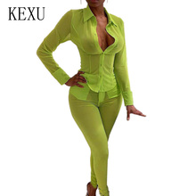 KEXU Women Summer Sexy Perspective Mesh Bodycon Jumpsuit Long Sleeve Turn Neck with Button Slim Playsuit Fashion Party Overalls