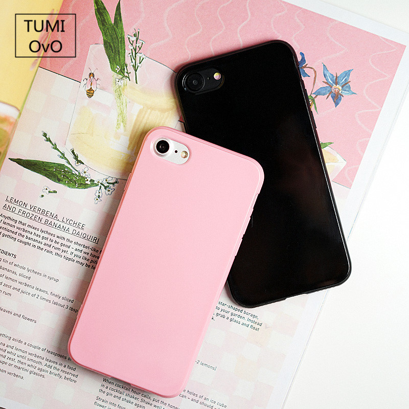 Candy Soft TPU Case For iPhone 8 Case Pink Color Silicon For  iPhone 4 4S 5 5S 5C 6 6S 7 Plus Back Phone Cover Cases Capa Fundas