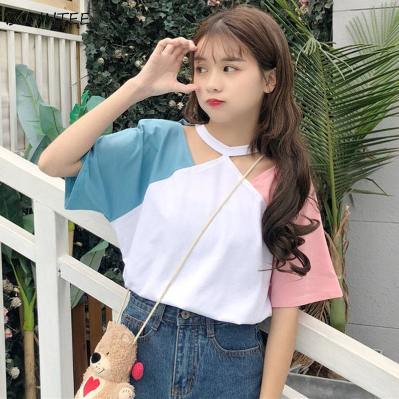 T-shirts Women Sweet Fashion Loose Soft Leisure Korean Style Harajuku Womens Clothing All-match Simple Daily Students Chic 2020