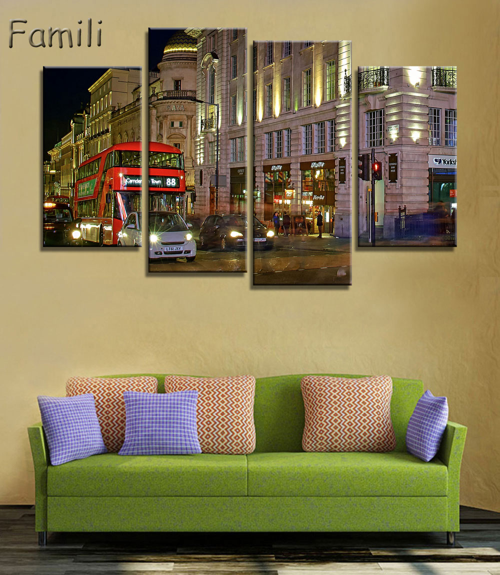 4 Pieces Modern art paintings Spray Canvas Painting London red ...