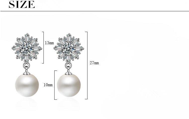 Wholesale 925 sterling silver imitation pearl cz zircon flower ladies stud earrings jewelry Anti allergy women girls gift cheap in Stud Earrings from Jewelry Accessories