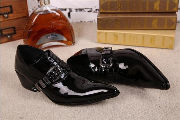 Pontas Masculinos Primavera Me Vestido De Dedo Fivela Negócios Outono Pé Shoes Cinto Do Casamento Respirável Sapatos Robusto Inglaterra Calcanhar Preto Couro 7TBgEq