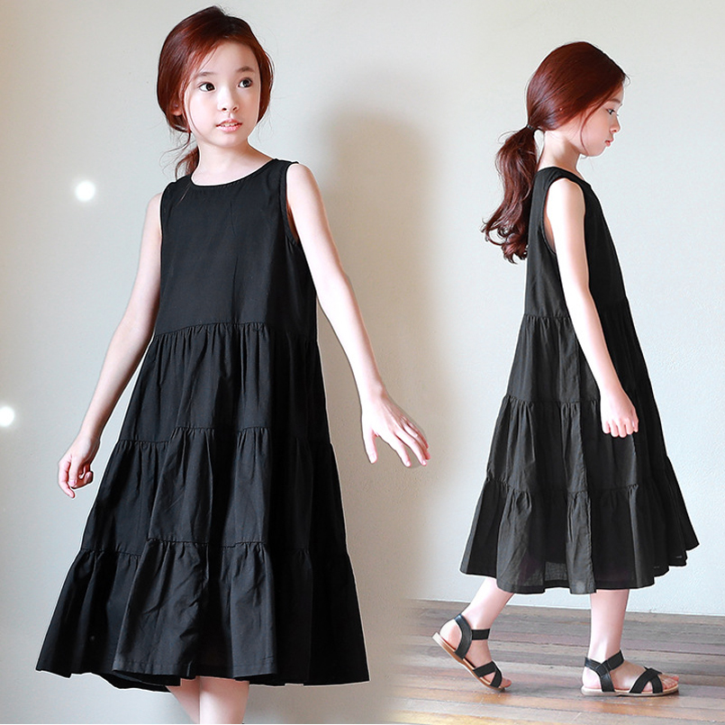 Kids Dresses For Girls Gowns Sleeveless Long Vests Dresses New Year Dress Summer Black Teenage Sundress 4 6 8 10 12 13 14 Years hayden girls boho ethnic dress designs teenage girls national embroidered dresses flare sleeve loose fit dress for 7 to 14 years