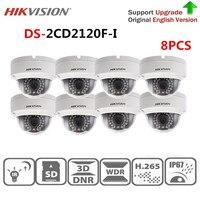 Hikvision Камеры Скрытого видеонаблюдения DS 2CD2120F I 2,0 МП стационарная купольная IP Камера 1080 P POE CCTV Камера SD карты английская версия 8 шт./лот