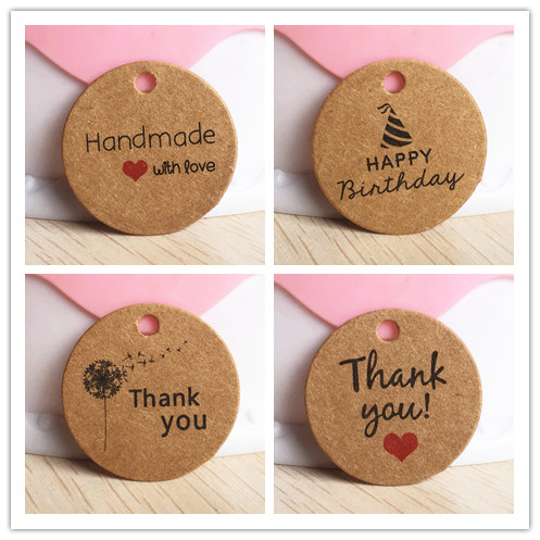 100pcs 3cm Round Kraft paper gift hang tags DIY  gift box packing tag DIY handmade favors brand tags for jelwelry/flower/cupcake harry potter mug marauders map