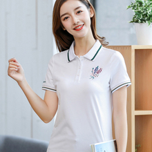 2019 summer womens simple style cotton sports polo shirt lapel short-sleeved shirts ladies loose casual brand multicolor