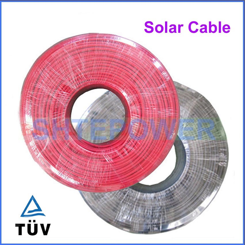 200 Meters/Roll 4mm2 (12AWG) Solar Cable Red and Black Pv Cable Wire Copper Conductor XLPE Jacket TUV Certifiction