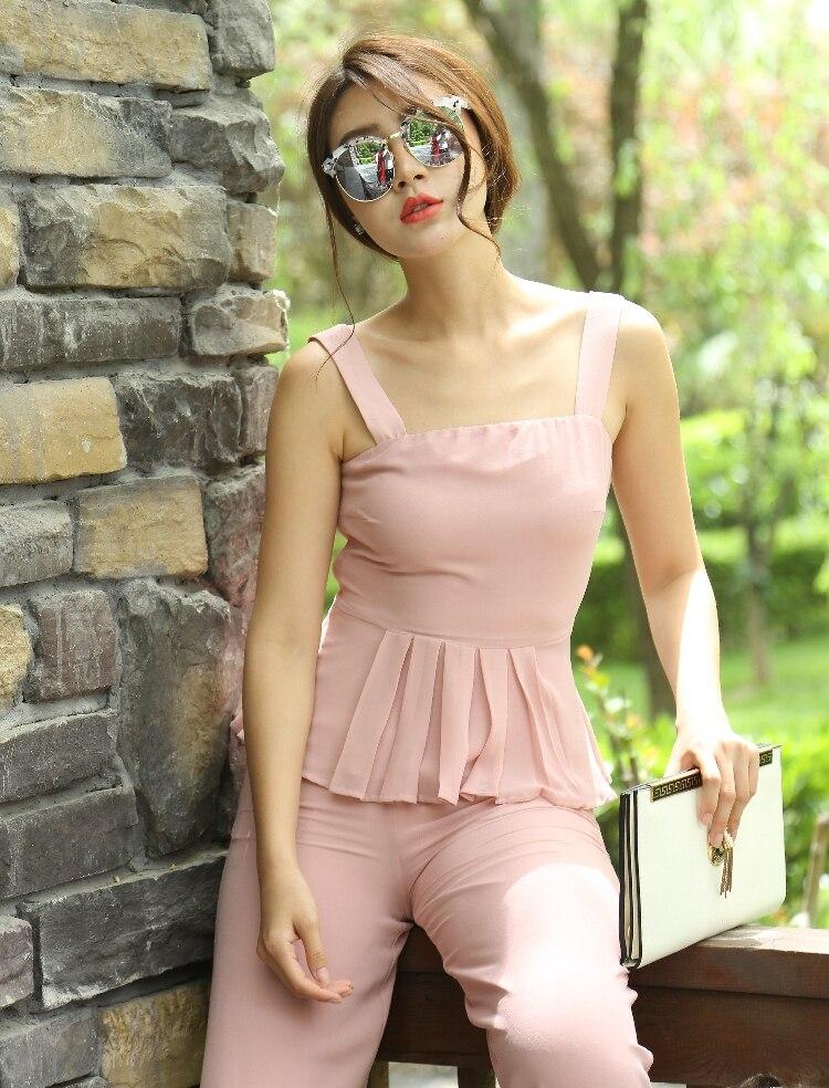 Manches De Set 2018 Mousseline D'été Deux Pleine Sans Rose Top Partie Pantalon Pièces Popular En Et Cou Longueur Vêtements Pink Soie Slash Élégant Femmes Femme Couleur rOO75qnfv