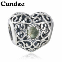 Birthstone Peridot August Signature Charm Beads 925 Sterling Silver Crystal Heart Charms Diy 2015 Winter Brand