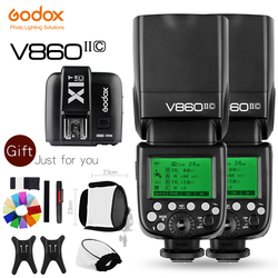 Free DHL Godox 2xV860II-C V860IIC Speedlite GN60 HSS 1/8000sTTL FlashLight +X1T-C Wireless FlashTriggerTransmitter for CanonCD50
