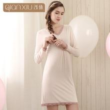 Qianxiu Summer Casual Sleepshirts Women Cotton Nightgown Patchwork Plus Size nightgown for women 1628